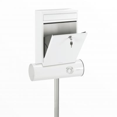 Brabantia B100 mailbox in Traffic White RAL9016 with news paper holder and stand