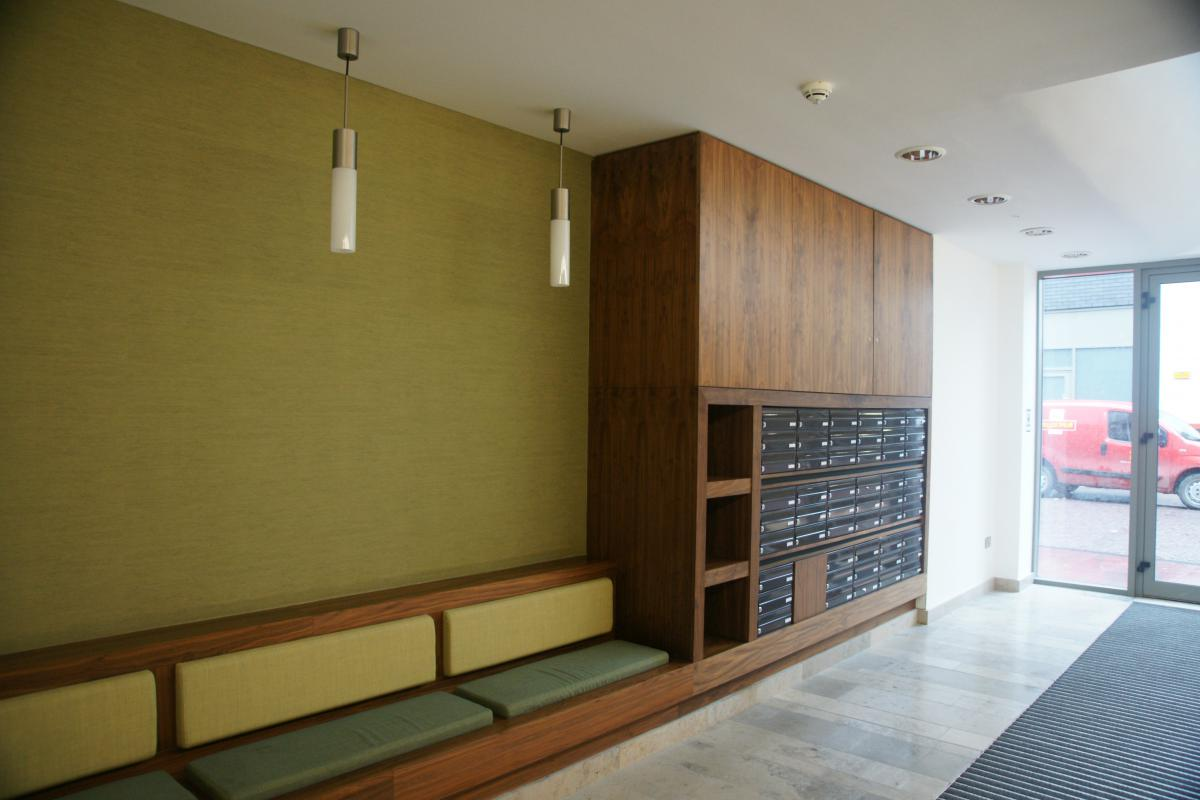 Belfast | Titanic Quarter | Recessed mailboxes in bespoke wood furniture | 02