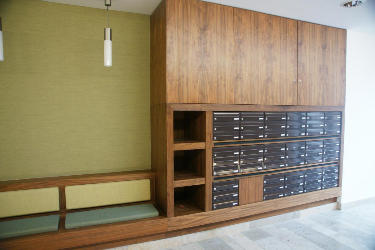 Belfast | Titanic Quarter | Recessed mailboxes in bespoke wood furniture | 03