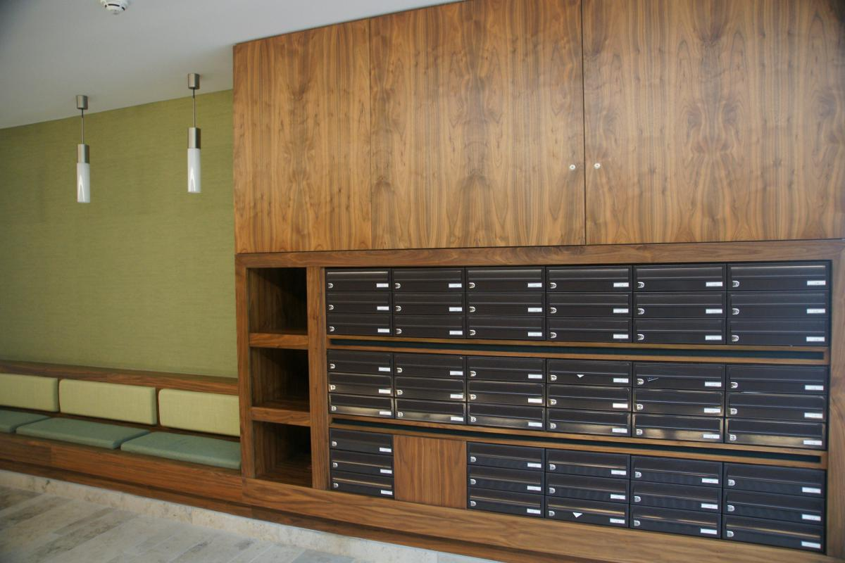 Belfast | Titanic Quarter | Recessed mailboxes in bespoke wood furniture | 04