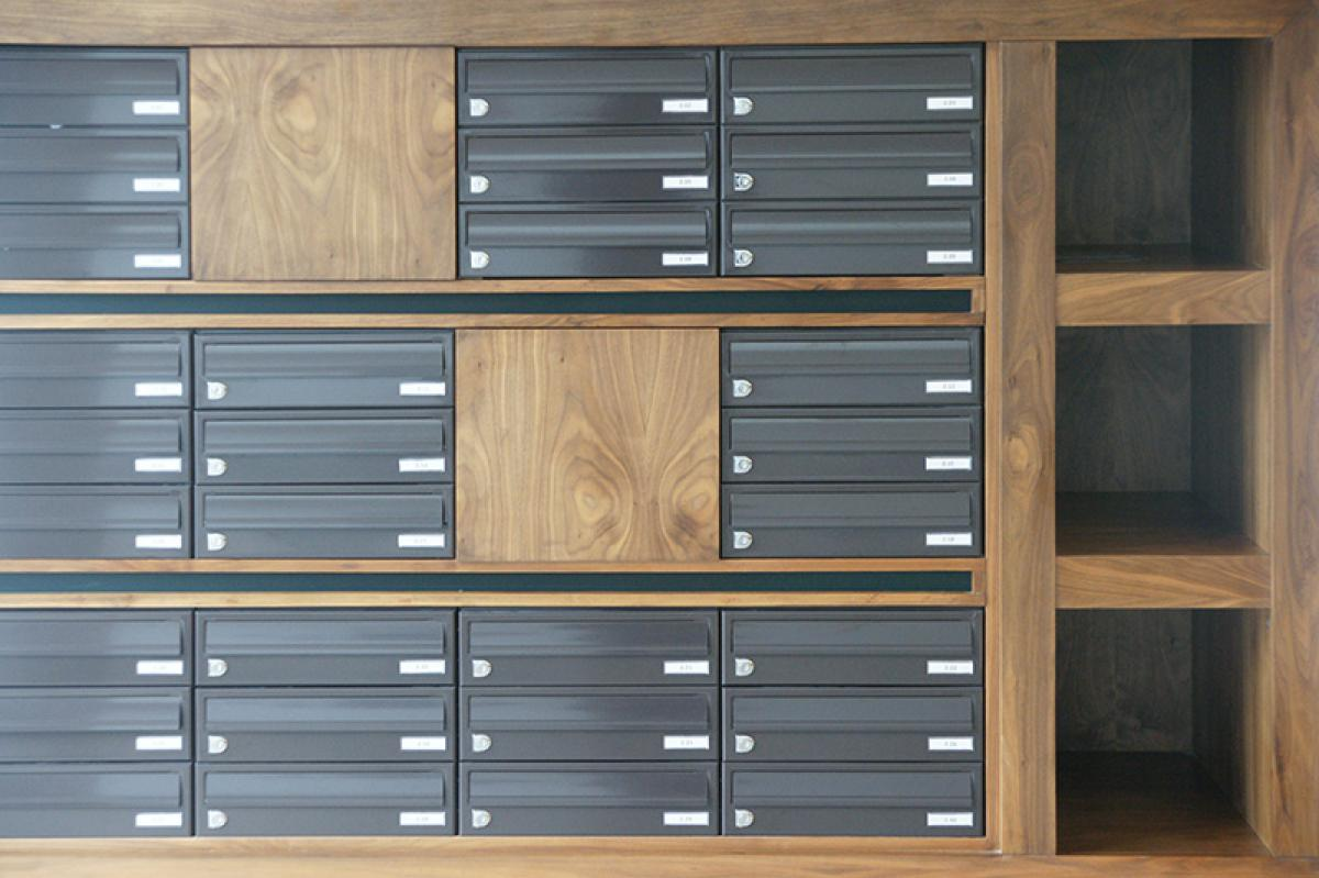 Belfast | Titanic Quarter | Recessed mailboxes in bespoke wood furniture | 05