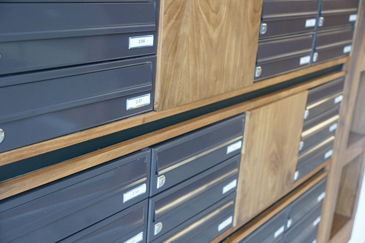 Belfast | Titanic Quarter | Recessed mailboxes in bespoke wood furniture | 06