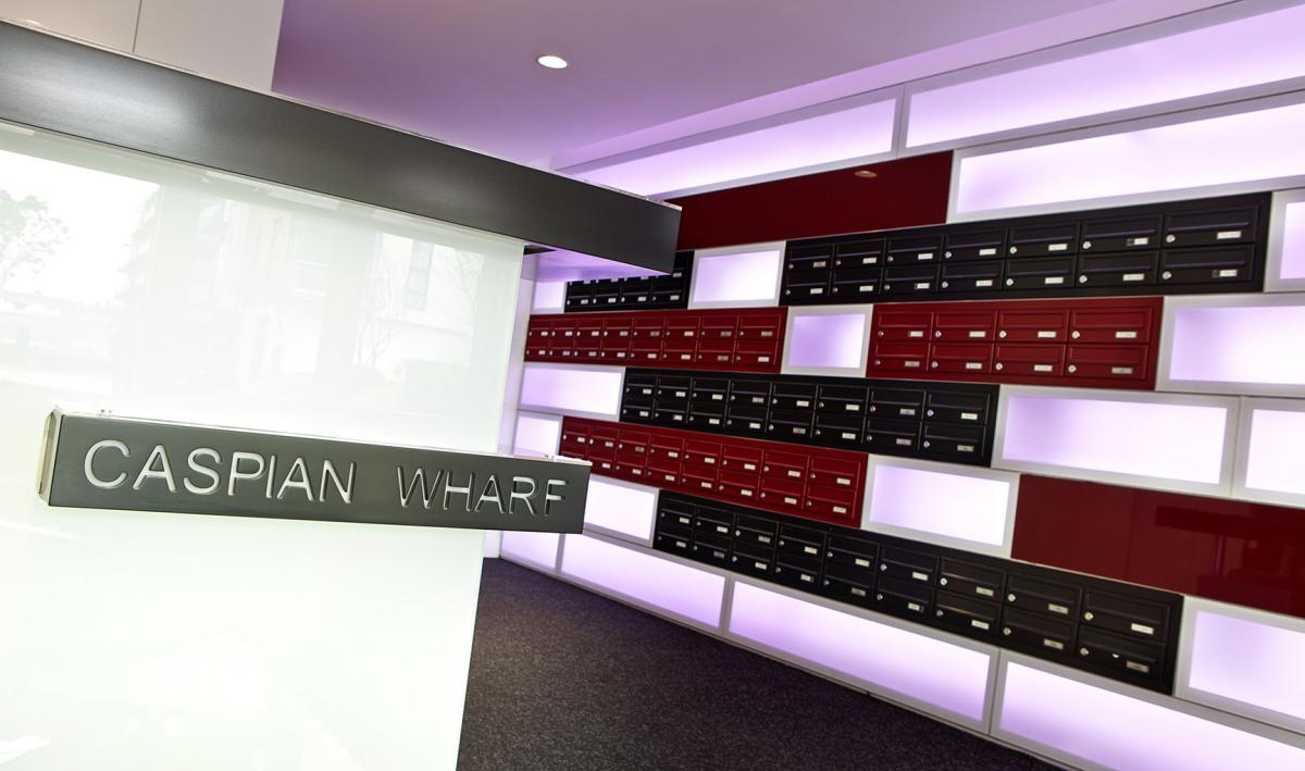 Caspian Wharf | Luxury properties letterboxes | Recessed mailboxes
