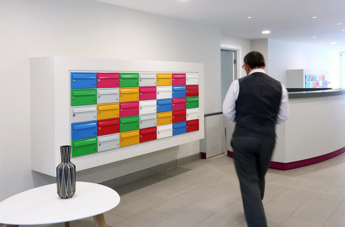 Deptford Market Yard | Wall mounted multiple mailboxes with bespoke surround