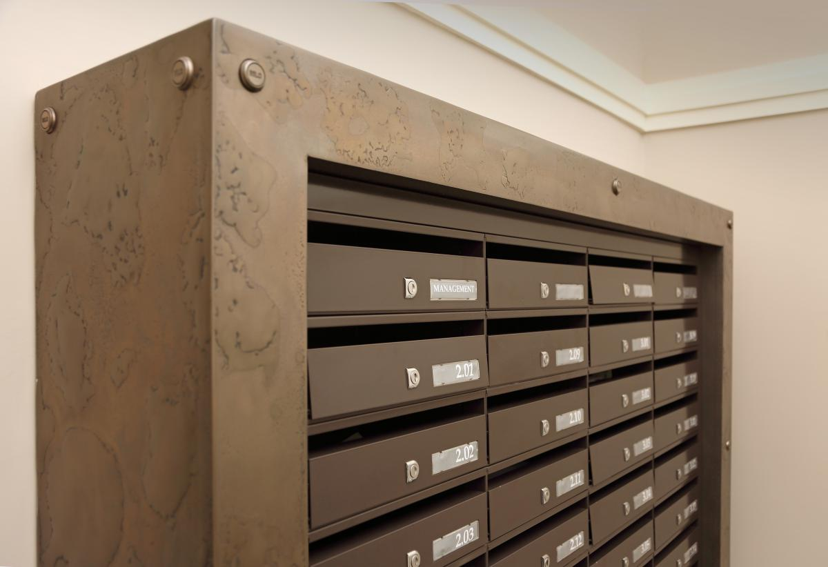 London | St Pancras | Bespoke mailboxes brass surround | 04