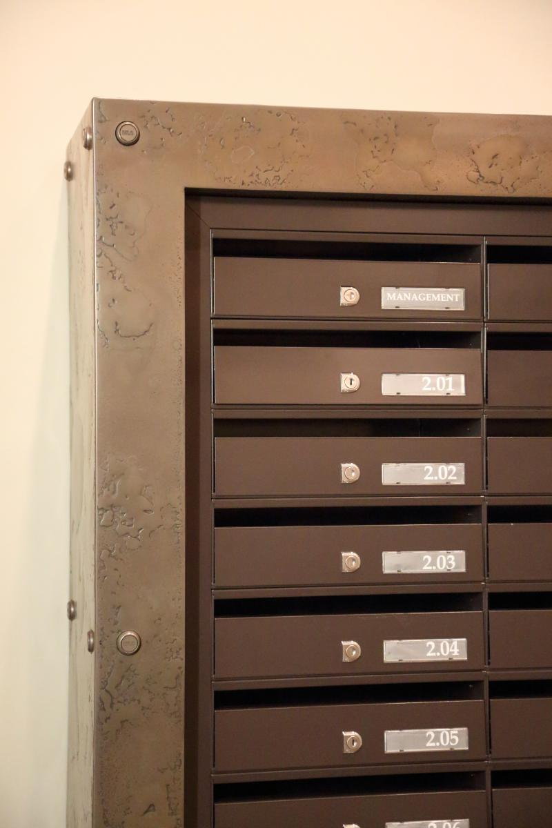 London | St Pancras | Bespoke mailboxes brass surround | 05