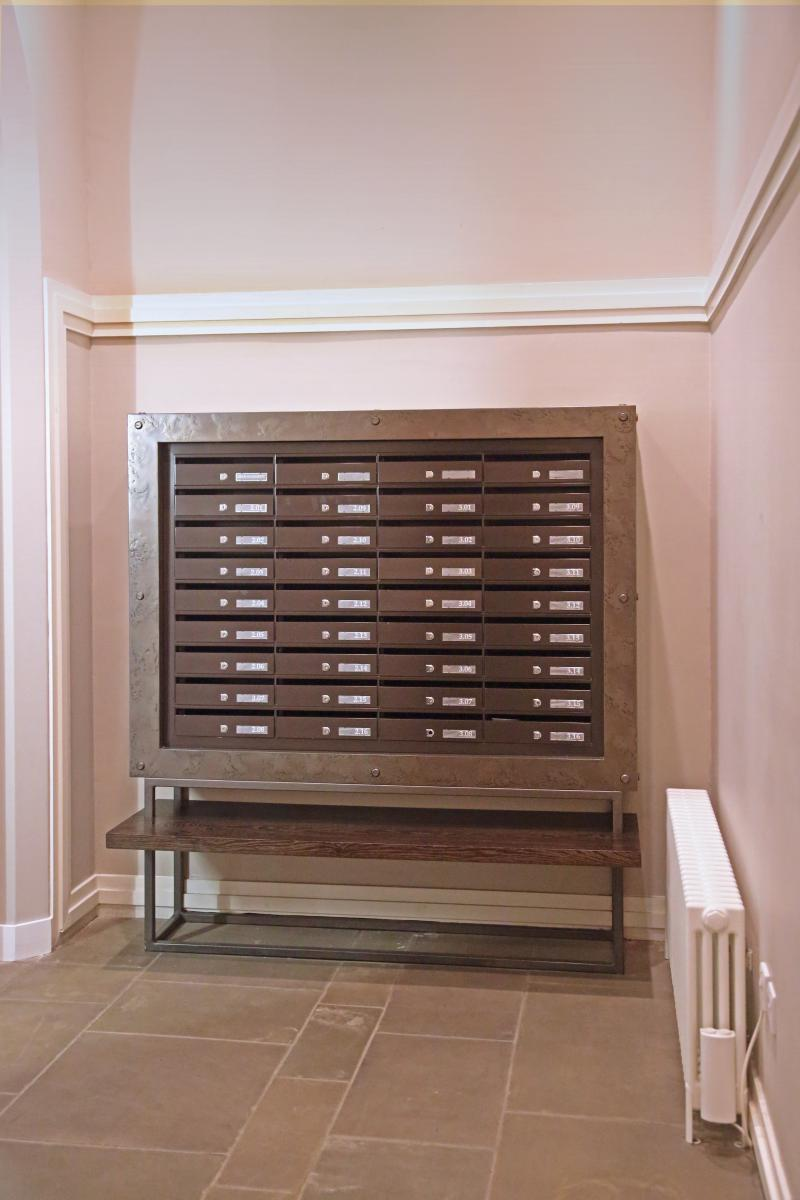 London | St Pancras | Bespoke mailboxes brass surround | 07