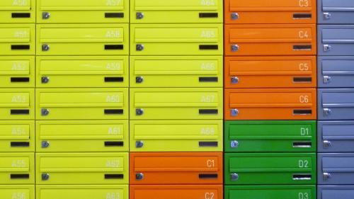 Colourful student mailboxes | freestanding postboxes | Tuffnell Park