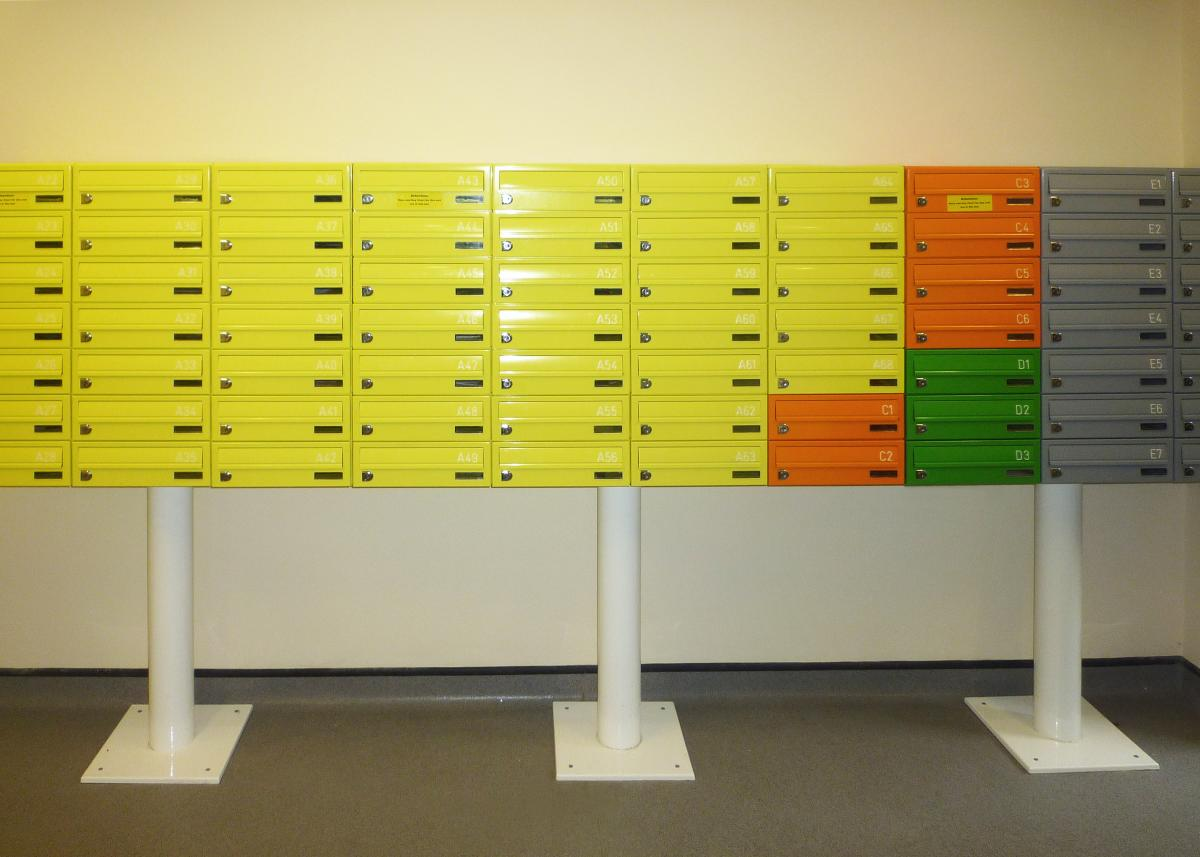 Colourful student postboxes | Tuffnell Park project